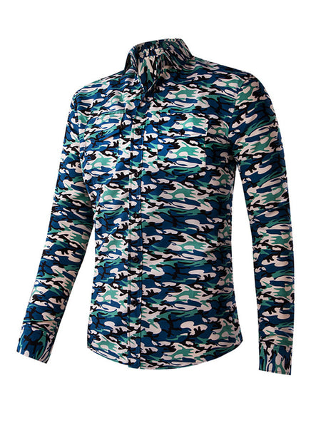 Trendy Turn Down Collar Men Shirt In Camouflage - Bychicstyle.com