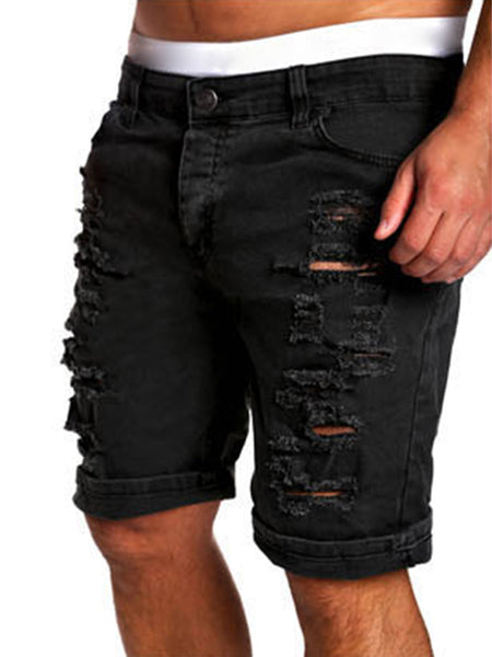 Casual Denim Distressed Plain Mid-Rise Men's Short