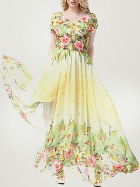 Tropical Floral Elastic Waist V-Neck Chiffon Plus Size Maxi Dress - Bychicstyle.com