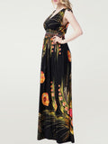ByChicStyle Empire Elastic Waist Tropical Floral Deep V-Neck Plus Size Maxi Dress - Bychicstyle.com