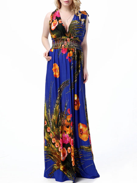Empire Elastic Waist Tropical Floral Deep V-Neck Plus Size Maxi Dress - Bychicstyle.com