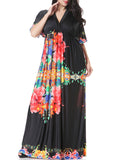 ByChicStyle V-Neck Empire Swing Floral Awesome Plus Size Maxi Dress - Bychicstyle.com