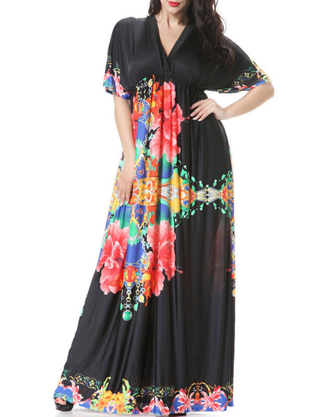 V-Neck Empire Swing Floral Awesome Plus Size Maxi Dress - Bychicstyle.com