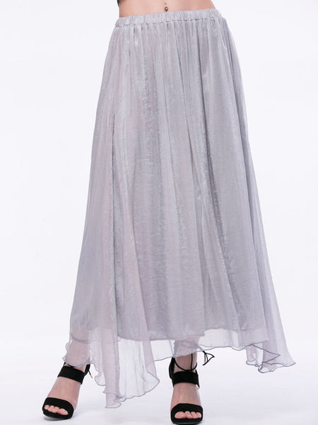 Flowing Solid Flared Maxi Skirt - Bychicstyle.com