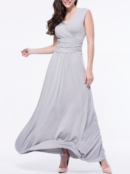 Ruched Sleeveless Deep V-Neck Plain Maxi Dress - Bychicstyle.com