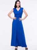 ByChicStyle Ruched Sleeveless Deep V-Neck Plain Maxi Dress - Bychicstyle.com