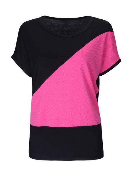 Loose Basic Color Block Round Neck Short Sleeve T-Shirt - Bychicstyle.com