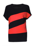 ByChicStyle Simple Color Block Striped Round Neck Short Sleeve T-Shirt - Bychicstyle.com