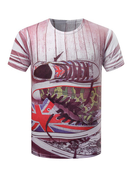 Short Sleeve Crew Neck Shoes Printed T-Shirt - Bychicstyle.com
