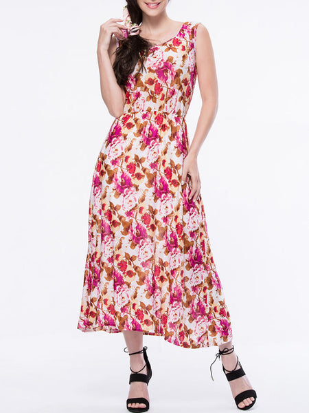 Delightful Elastic Waist Round Neck Maxi Dress In Floral Printed - Bychicstyle.com