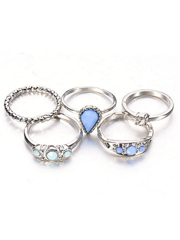 5 PCS Faux Gem Inlay Retro Geometry Ring - Bychicstyle.com