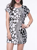 ByChicStyle Black White Polka Dot Round Neck Shift Dress - Bychicstyle.com