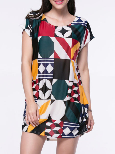 Color Block Geometric Mini Shift Dress - Bychicstyle.com