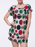 ByChicStyle Color Block Polka Dot Mini Shift Dress - Bychicstyle.com