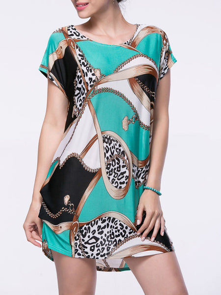 Casual Loose Printed Mini Round Neck Shift Dress - Bychicstyle.com