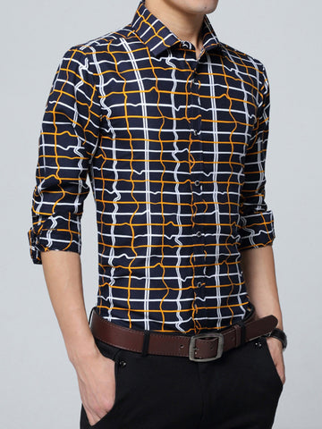 Single Breasted Unique Plaid Men Shirt - Bychicstyle.com