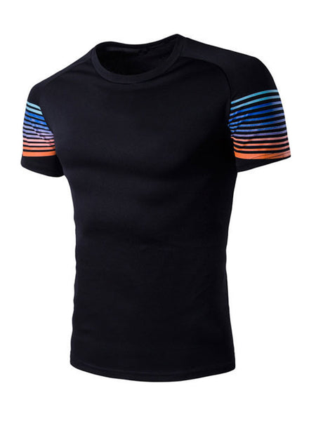 Fitted Crew Neck Colorful Striped T-Shirt - Bychicstyle.com