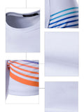 ByChicStyle Fitted Crew Neck Colorful Striped T-Shirt - Bychicstyle.com