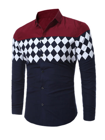 Trendy Color Block Plaid Men Shirt With Long Sleeve - Bychicstyle.com