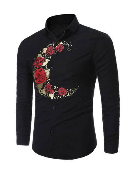 Fashion Turn Down Collar Long Sleeve Floral Printed Men Shirt - Bychicstyle.com