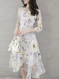 ByChicStyle Floral Hollow Out Printed Chiffon Round Neck Skater Dress - Bychicstyle.com