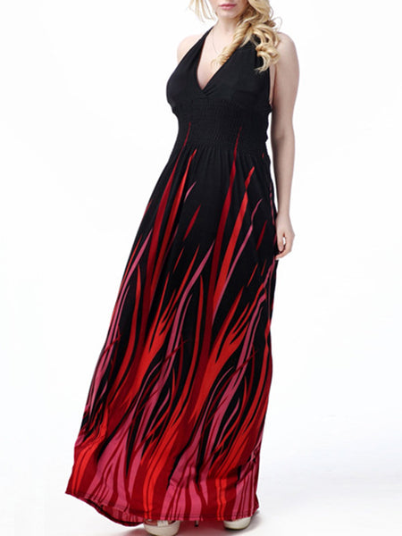 Celebrity Empire Halter Backless Abstract Print Plus Size Maxi Dress - Bychicstyle.com