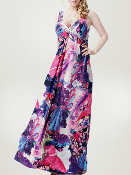 Extraordinary Floral Printed Deep V-Neck Plus Size Maxi Dress - Bychicstyle.com