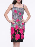 ByChicStyle Smocked Bodice Floral Leopard Shift Dress - Bychicstyle.com