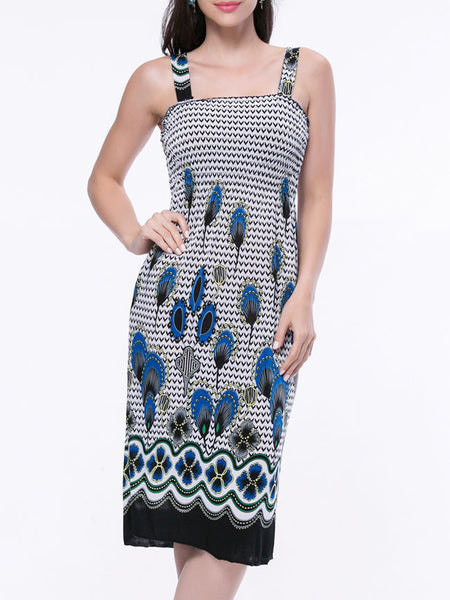 Smocked Bodice Two Way Printed Square Neck Shift Dress - Bychicstyle.com
