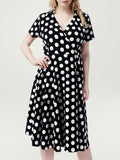 ByChicStyle Black White Deep V-Neck Plus Size Flared Dress In Polka Dot - Bychicstyle.com