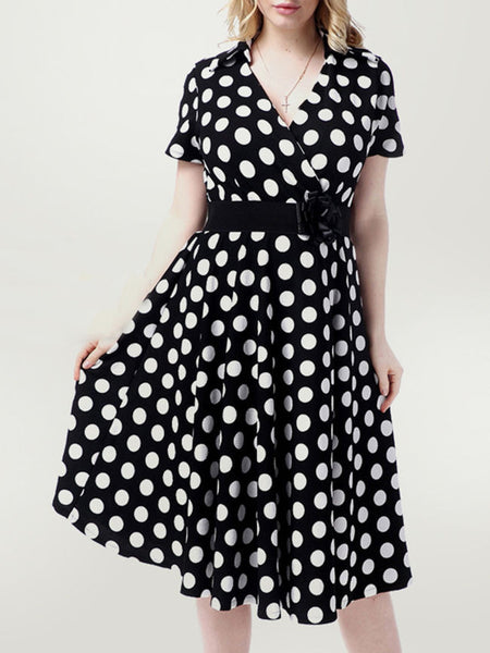 Black White Deep V-Neck Plus Size Flared Dress In Polka Dot - Bychicstyle.com