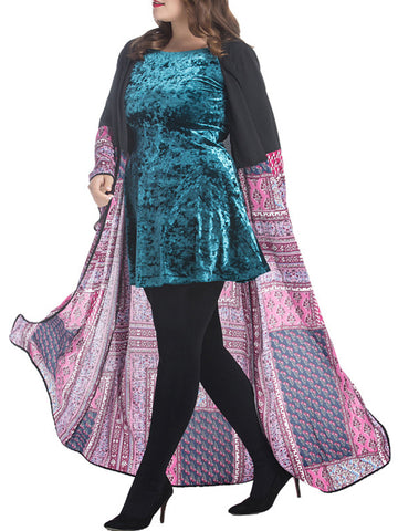 Tribal Printed Loose Plus Size Duster Coat - Bychicstyle.com