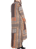 ByChicStyle High-Low Tribal Printed Lapel Plus Size Duster Coat - Bychicstyle.com