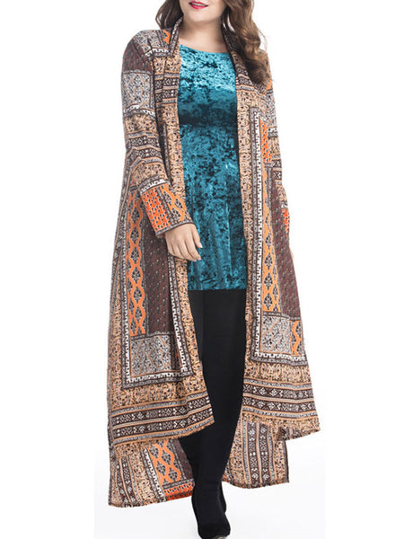High-Low Tribal Printed Lapel Plus Size Duster Coat - Bychicstyle.com