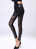 ByChicStyle Sexy Solid Patchwork See-Through Mid-Rise Legging - Bychicstyle.com
