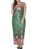 ByChicStyle Casual Deluxe Round Neck Pleated Plus Size Maxi Dress In Floral Printed