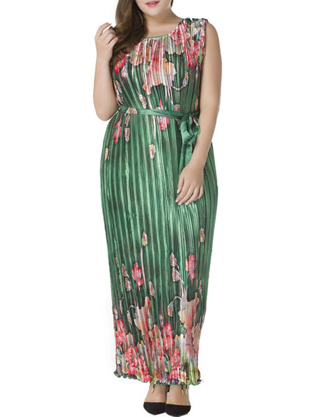 Casual Deluxe Round Neck Pleated Plus Size Maxi Dress In Floral Printed