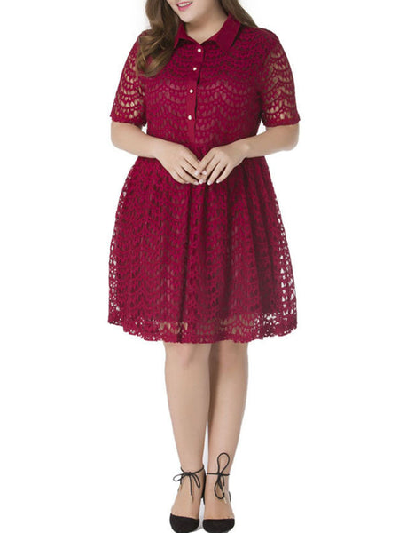 Exquisite Lace Solid Hollow Out Plus Size Flared Dress - Bychicstyle.com