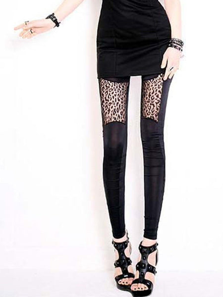 Patchwork Leopard Hollow Out Legging - Bychicstyle.com