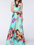 ByChicStyle Charming Halter Floral Empire Plus Size Maxi Dress - Bychicstyle.com