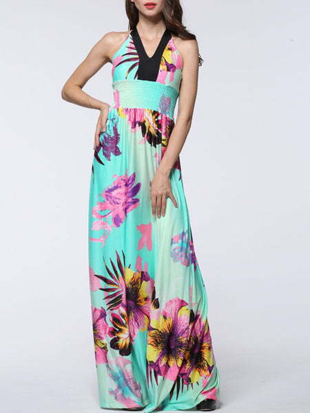 Charming Halter Floral Empire Plus Size Maxi Dress - Bychicstyle.com