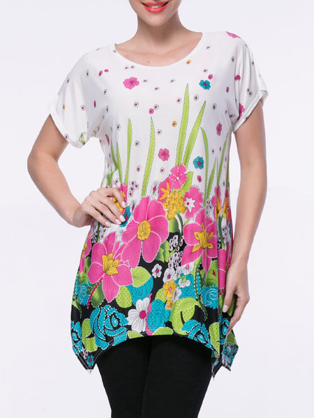 Casual Asymmetric Hem Short Sleeve T-Shirt In Floral Printed