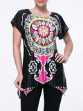 ByChicStyle Short Sleeve Asymmetric Hem Tribal Printed T-Shirt - Bychicstyle.com