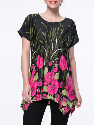 Casual Attractive Floral Printed Short Sleeve T-Shirt With Asymmetric Hem