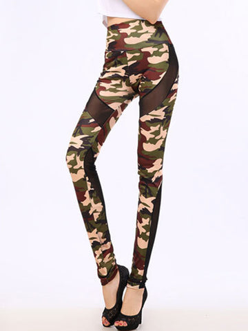 Camouflage Patchwork See-Through High-Rise Legging - Bychicstyle.com
