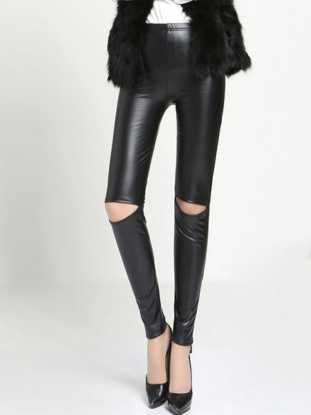Busted Knees Solid Faux Leather Legging - Bychicstyle.com