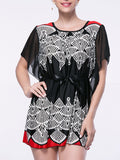 ByChicStyle Mini Round Neck Printed Cape Sleeve Shift Dress - Bychicstyle.com
