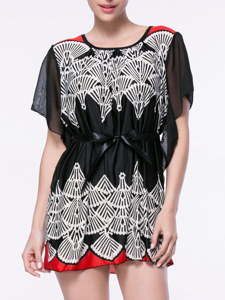 Mini Round Neck Printed Cape Sleeve Shift Dress - Bychicstyle.com