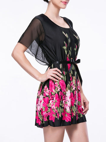 Casual Attractive Round Neck Floral Printed Shift Dress