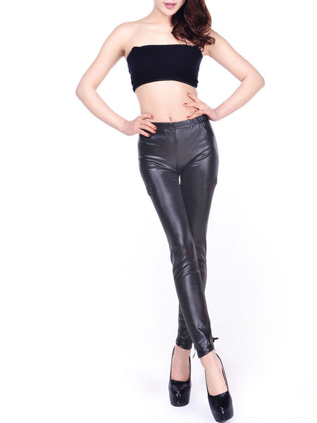 Lace-Up Hollow Out Plain Mid-Rise Legging - Bychicstyle.com